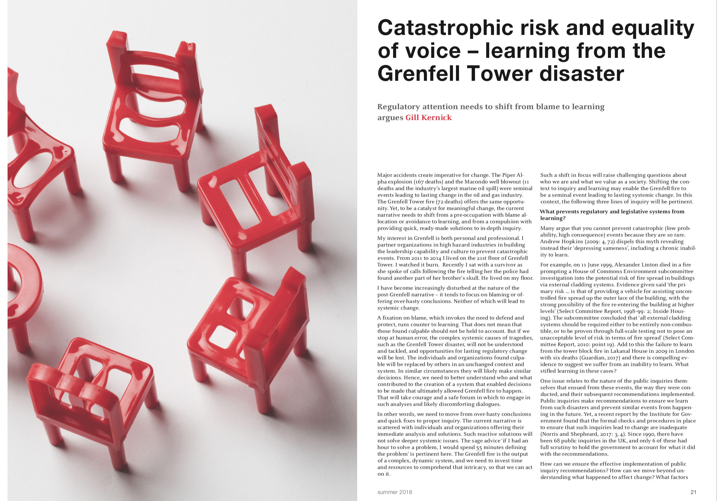 Catastrophic Risk and Equality of Voice - learning from the Grenfell Tower disaster, Gill Kernick