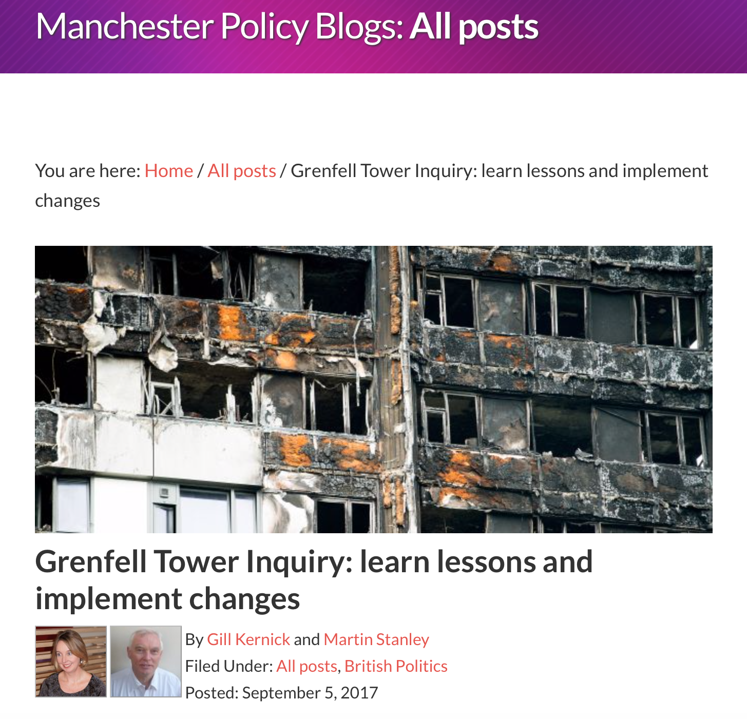 Learn Lessons and Implement Change Grenfell Tower Inquiry