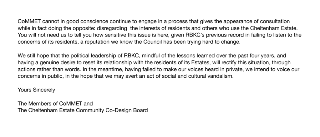 Local community group CoMMET accuse the RBKC of failing to listen to concerns and conducting a false consultation.